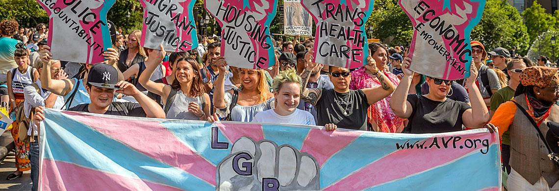 Image of the Anti-Violence Project marching on the NYC Trans Day of Action for Social and Economic Justice