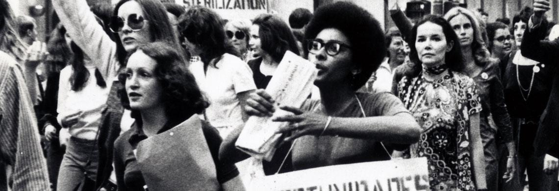On the 50th anniversary of national woman suffrage, Betty Friedan spearheaded the Women's Strike for Equality march