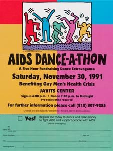 FLYER WITH GRAPHIC DESIGN BY KEITH HARING