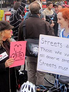 BIKE LANE OPPONENTS AND SUPPORTERS GATHER AT THE 14TH STREET ANTI-BIKE LANE PROTEST
