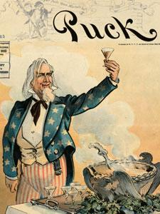 Puck magazine, Uncle Sam toasting US soldiers in Puerto Rico and elsewhere