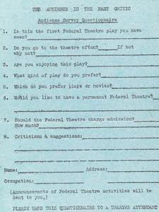 AUDIENCE SURVEY QUESTIONNAIRE FOR IT CAN'T HAPPEN HERE