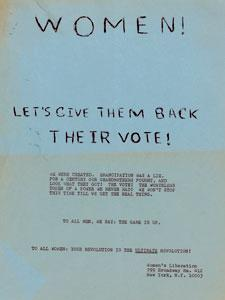 "FLYER, ""WOMEN! LET'S GIVE THEM BACK THEIR VOTE!"""