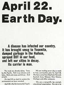 "ADVERTISEMENT, ""APRIL 22. EARTH DAY."""