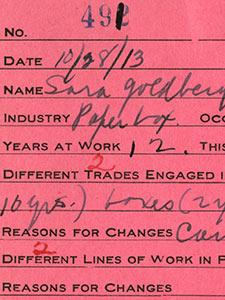 CARDS FROM THE NEW YORK STATE FACTORY INVESTIGATING COMMISSION RECORDS