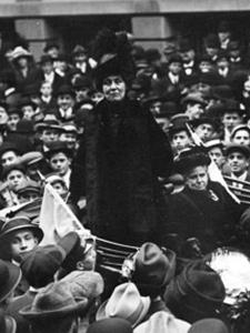 BRITISH SUFFRAGIST LEADER EMMELINE PANKHURST ON WALL STREET