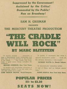 FLYER FOR THE CRADLE WILL ROCK