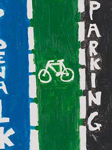 SIGN DEPICTING BIKE LANE, TRAFFIC LANES, AND PEDESTRIAN LANE
