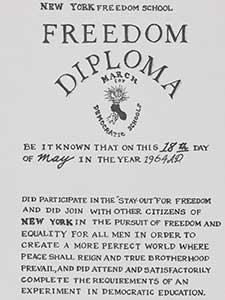 """NEW YORK FREEDOM SCHOOL, FREEDOM DIPLOMA"" BELONGING TO CIVIL RIGHTS LEADER BAYARD RUSTIN"