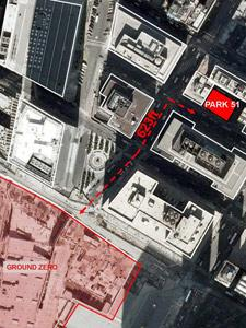 GRAPHIC SHOWING LOCATION OF ISLAMIC COMMUNITY CENTER RELATIVE TO THE WORLD TRADE CENTER