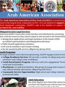 ARAB AMERICAN ASSOCIATION OF NEW YORK FLYER