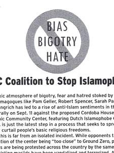 FLYER FOR NYC COALITION TO STOP ISLAMOPHOBIA